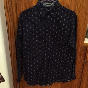 Blue long sleeve button up with antlers